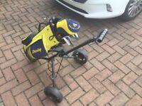 Kids golf set including bag and trolley.
