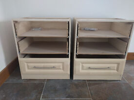 Bedside cabinets, no tops or drawer fronts