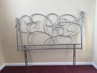 "Ornate Silver Metal Headboard for 4' 6"" Bed"