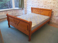 King Size wooden sleigh style bed