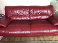 3 & 2 seater red leather sofas. (Harvey's) good condition. £175 Ono.