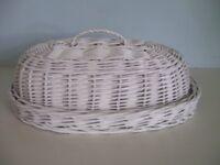New White Wicker Bread Basket Bin Fruit Picnic Storage