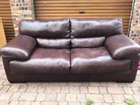 Brown Leather Sofa - Large 2 Seater