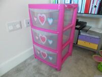 Pink 3 Drawer Storage Unit in lovely condition - Brackley (only £10)