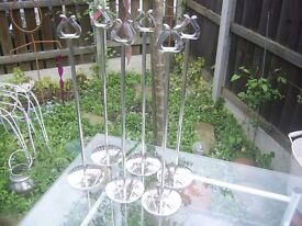 "6 Stainless steel 18"" high table number /menu holders good used condition"