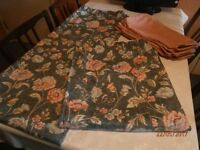 PAIR OF DARK BLUE/LIGHT BLUE/PINK FLORAL, UNLINED CURTAINS AND 6 PINK JAQUARD CUSHION COVERS