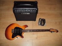 Lag Jet Electric Guitar and Line 6 Amplifier