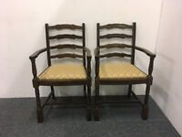 Two Solid Wood Carver Dining Armchairs With Upholstered Seat Bases