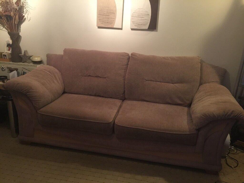 3 Seater 2 Light Brown Sofas