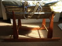 Moses basket with rocking stand and mothercare mattress