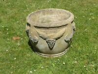 Vintage stylish large cast stone garden planter grape & swag detail 30cm tall