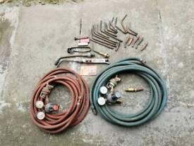 BOC Safire Oxygen and Acetylene gauges with Blow Back arrestors on gauges also on hose ends