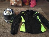Motor bike helmet and jacket