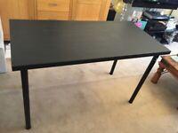 Black Brown Ikea Linnmon Table Top Desk 120cm by 60cm & x4 Black Adils Legs