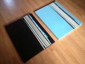 Large Canvases x 2 - Teal and Brown