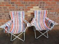 Pair Candy Striped Folding Chairs With Carry Bag Ideal for the Beach