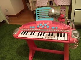 Lovely Pink Toy Piano with plug in mic