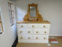 Large Pine Chest of drawers with detachable Mirror