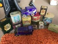 Collection of old tea and biscuit tins