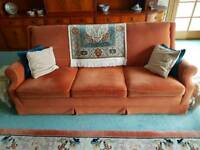 Parker Knoll Terracotta Fabric Living Room Suite. Sofas and armchair