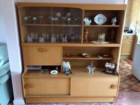 Wall unit - oak veneer and round table and 4 x chairs