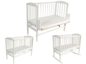 white Bedside wooden crib
