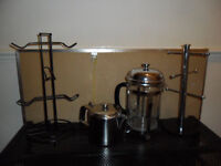 BOX KITCHEN STUFF - CAFETIERE TEA POT & 2 MUG STANDS STAINLESS STEEL CHROME - BRIC A BRAC / CAR BOOT