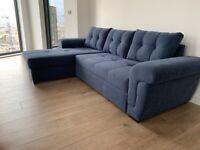 CORNER SOFA BED NAVY BLUE