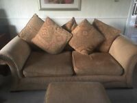 Large 3 seater sofa and 2 sester sofa and footstool