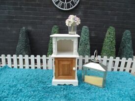 SINGLE SOLID PINE FARMHOUSE SIDE CABINET PAINTED WITH LAURA ASHLEY PALE DOVE AND WAXED