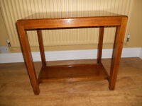 1940's LACQUERED SOLID WOOD COFFEE TABLE WITH LOW SHELF