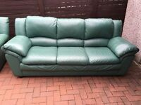 Leather Suite - 3 Seater & 2 Chairs (Green)