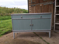 Linen dresser/cupboard/sideboard, Annie Sloan Duck Egg Blue & Paris Grey, Decoupage inside