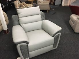 New/Ex Display LazyBoy Electric Grey Recliner Half Leather Chair Sofa