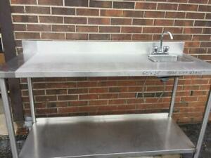 Stainless Steel Table with Hand Sink Size 60 inch x24 inch