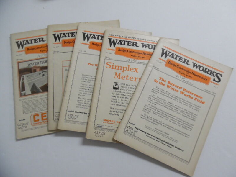 1926 WATER WORKS Engineering Contracting Magazine Lot Sewer Construction Vintage