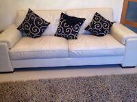 Cream leather sofas 3 + 2 + poufee