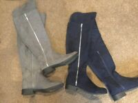 2 pairs of Ladies size 7 over knee boots