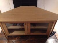 Modern TV Unit, Wood with Glass doors w/ two shelf's inside