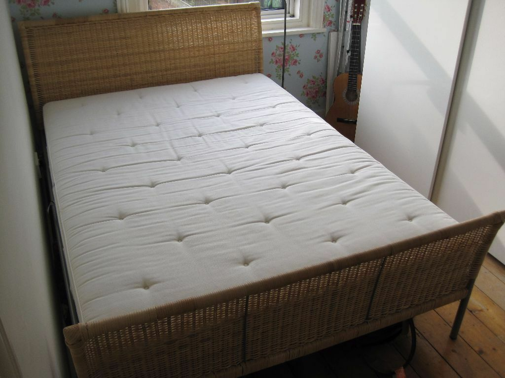 Ikea double bed and mattress metal frame wooden slat for Bed base ikea