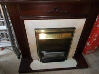 Electric Fire in Dark Wood Surround with Mantlepiece