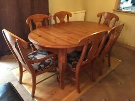Furniture village solid pine, 6 seat dining table