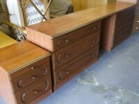 Schreiber Bedroom Furniture Set. 6 Drawer Dressing Table Unit and Bedside Cabinet