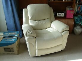 """New """"Madison"""" Reclining Cream Leather Armchair. Delivered within 10 miles of Banstead."""