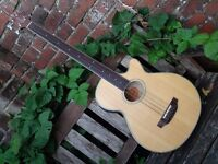 Crafter BA400 Electro Acoustic Fretless Bass Guitar