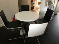 Dining table (80cm diameter) & 4 chairs
