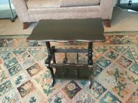 Small Coffee Table / Hall Table Solid Dark Wood with Magazine Rack Underneath see desc for size