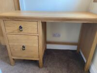 Solid Oak Desk/Dressing Table - Complete With Two Drawers - £70.00