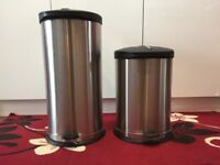 Two Stainless Steel Pedal Bins with liners Ex. Condition
