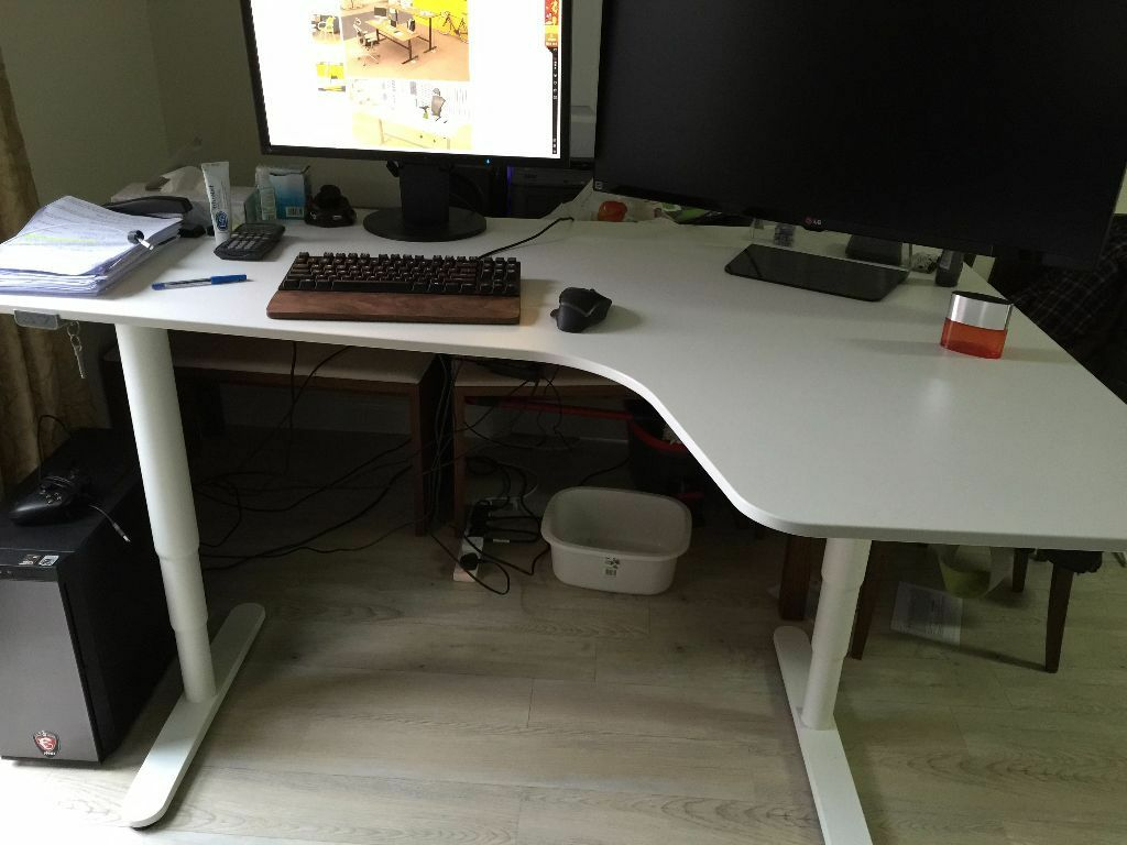 Bekant Corner Desk Right Sit Stand White Height